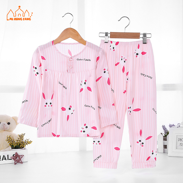1b87168453cd Girls Sleepwear Clothing Sets Summer Long Sleeve Animal Cartoon ...