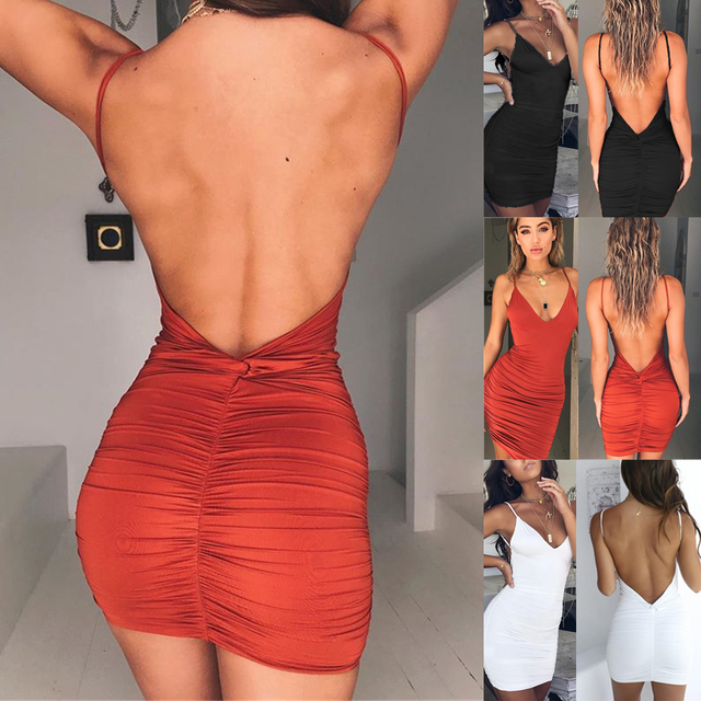 Sexy Womens Summer Backless High Draped Slim Bandage Bodycon Evening Party Short Mini Dress 1