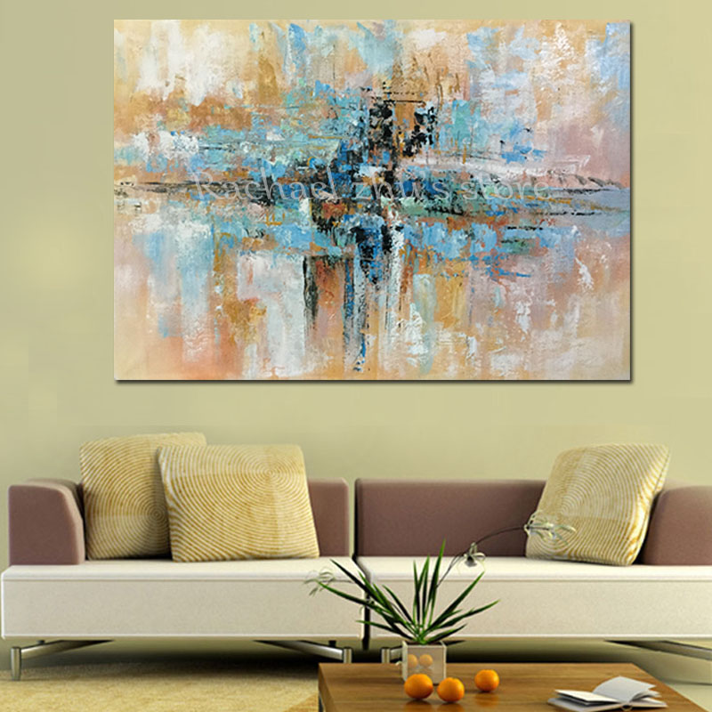 Hand Painted Modern Abstract Blue Brown Oil Painting On Canvas ...