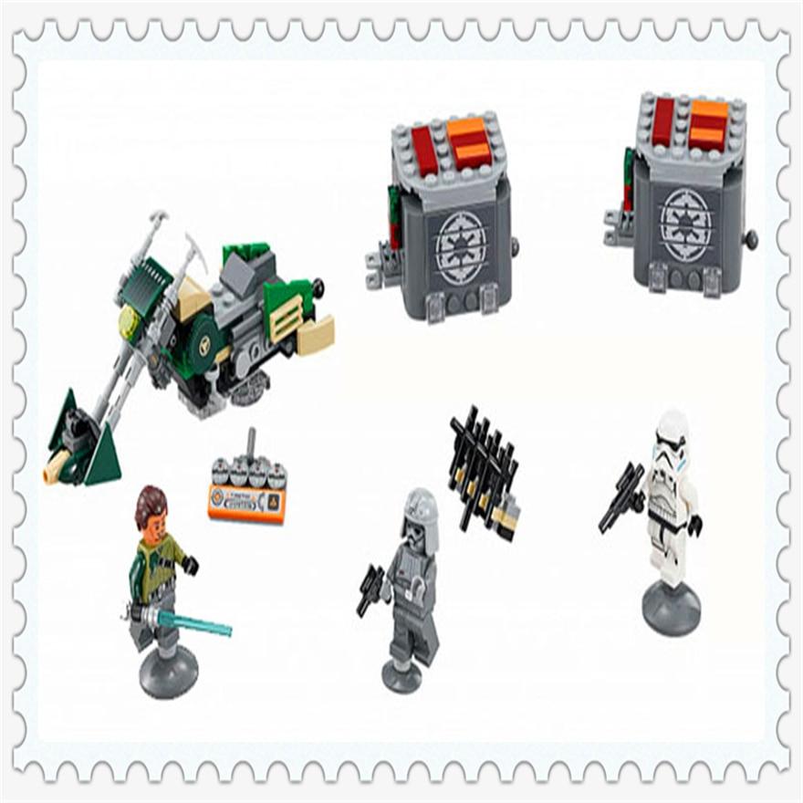 251Pcs Star Wars Kanans Speeder Bike Model Building Block Toys Enlighten 10574 Gift For Children Compatible Legoe 75141
