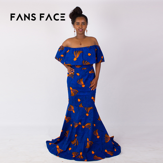 3550fcfa9854f2 FANS FACE African Traditional Pattern,Women african Dresses,Evening Party  dresses.Off Shoulder 2018 Sexy.dashiki wax print dress
