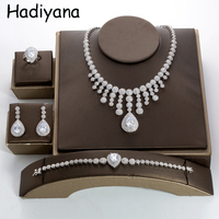 Hadiyana Dubai Gold Jewelry Sets For Women Cubic Zirconia Copper Water Drop Necklace Earring Bridal 4pcs Jewelry Sets TZ8134