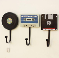 Hooks Real Photo European retro fashion creative wall coat hook tape record the dressing room wall hanging hooks decorative bags