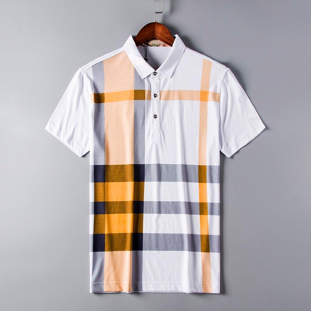 2019 Polo Homme Značkové oblečení Pánské košile Značky Bavlna Pánské tričko s krátkým rukávem Velikost pánského knoflíku M-3xl- Doprava zdarma Plaid  t