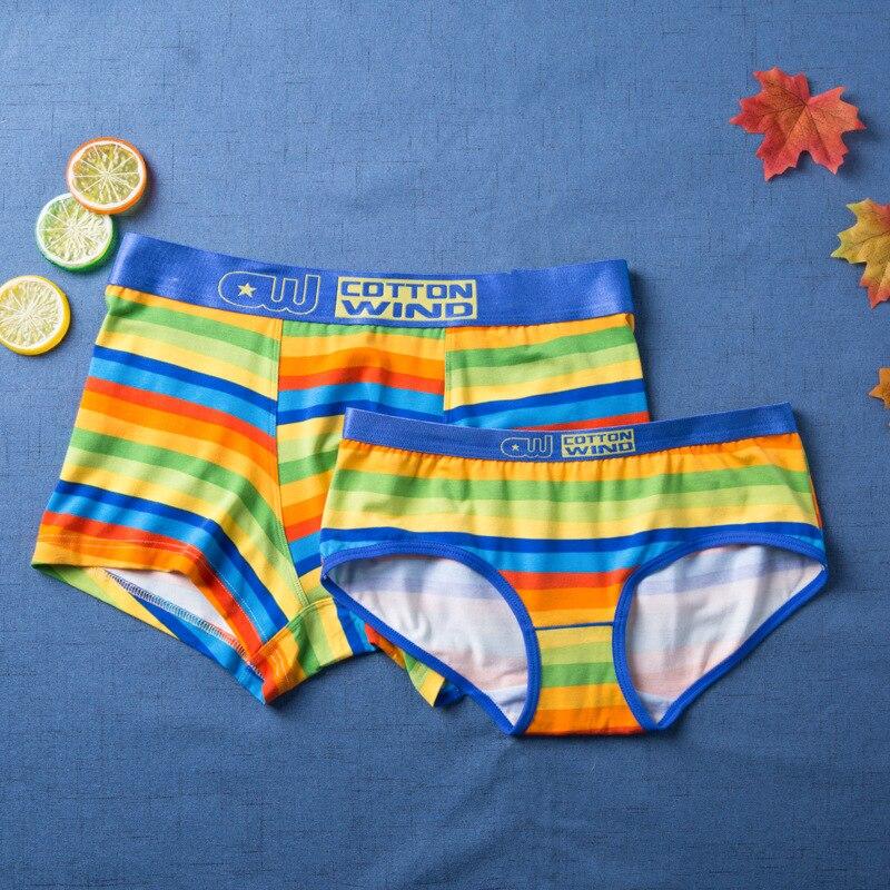 Couples Underwear Panties Boxer-Shorts Seamless Cotton Fashion Man Calzoncillos Rainbow-Stripes