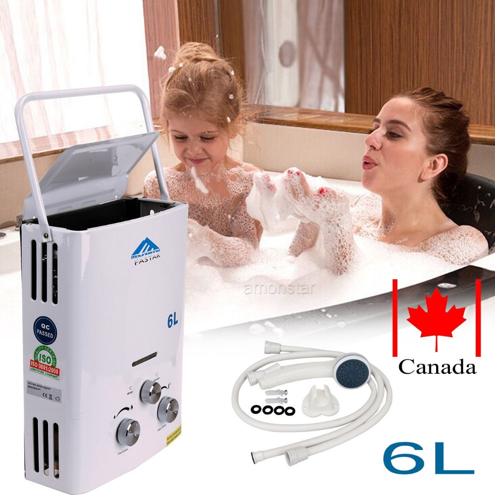 (Ship from Canada) Portable 6L GAS LPG Propane Hot Water Heater Shower INSTANT Tankless with shower head 2017 direct flue type selling flue type lgp instant tankless 12l gas lpg hot water heater propane stainless 2800pa