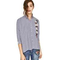 Free Postage 2017 Spring New Cotton Embroidered Stripes Split Sleeve Shirt In Female
