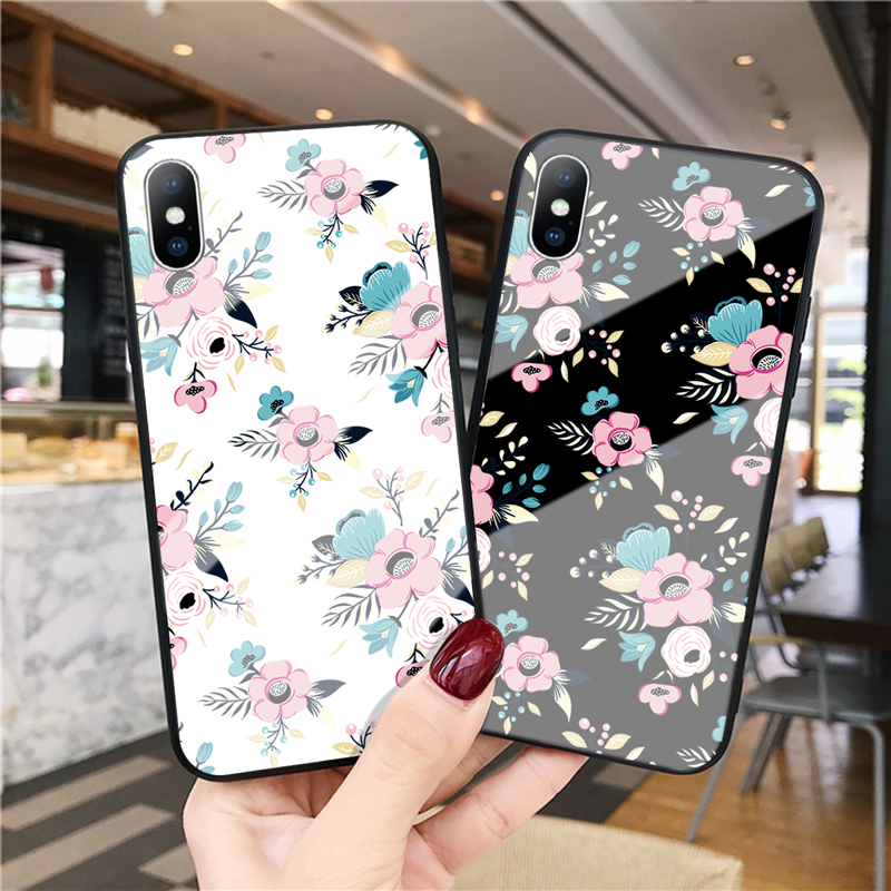 GTWIN Tempered Glass Case For iPhone Xs Max Xr X 8 7 6 6s Plus Peony Rose Floral Flower Protective Phone Cases Back Cover Case in Half wrapped Cases from Cellphones Telecommunications