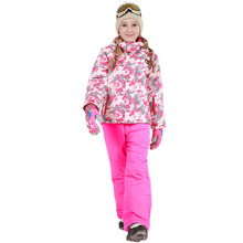 2019 Winter Girls Skiing Suit Waterproof Outdoor Sports Snowboard Jacket + Snow Pants Warm and Windproof Children Ski Set girls ski set thick warm boys ski jacket and pants children outerwear toddler girls winter clothes windproof kids snowboard suit
