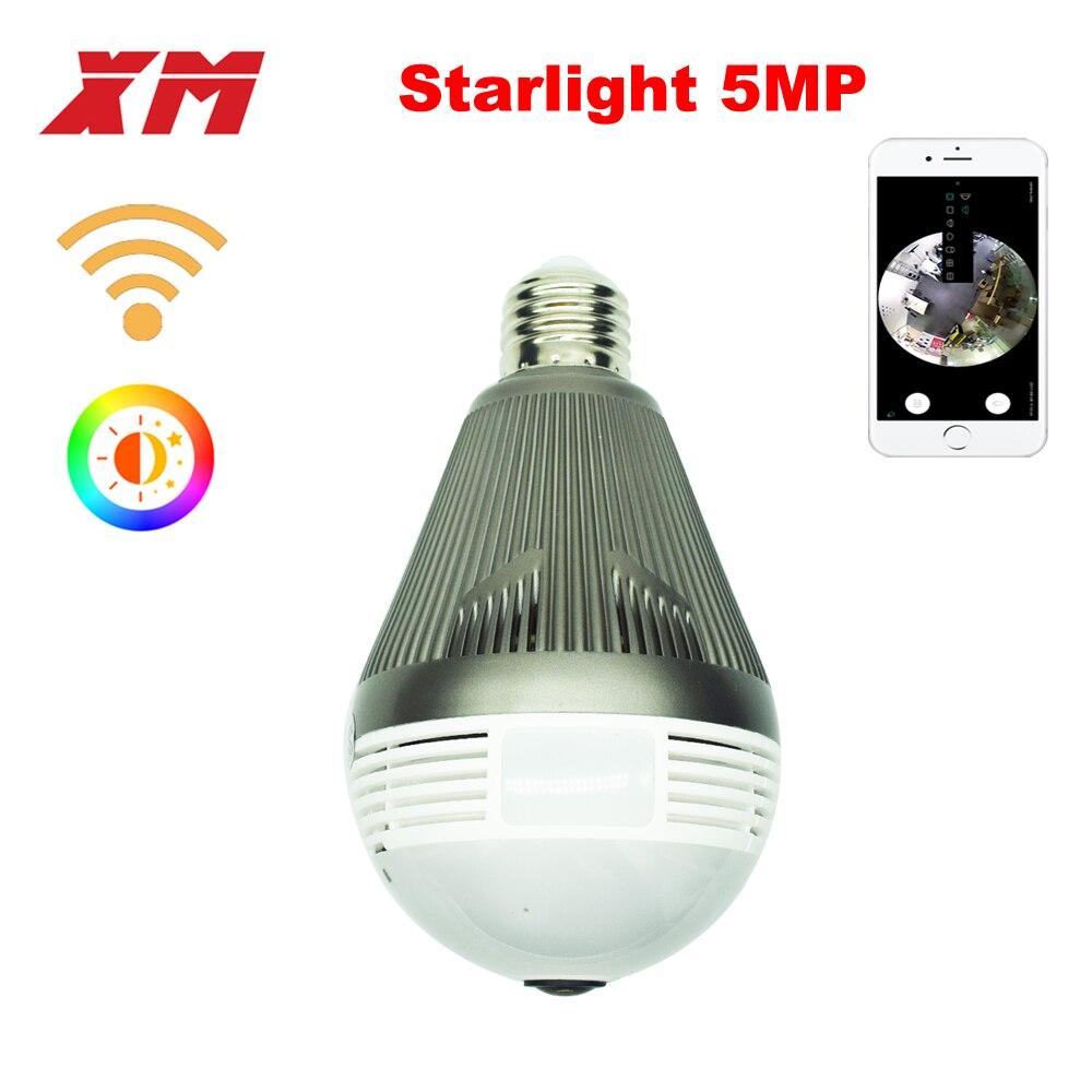 XM 5MP Sans Fil Panoramique 360 VR Wifi IP Caméra Smart LED lumières Cam Starlight nuit vision Ampoule de Sécurité À Domicile Caméra XM ICsee