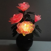 Crafts Optical Fiber Colorful Peony Flower with Fiber Optic Wire Spun Silk Plastic Novelty artistic home party Shop Decoration