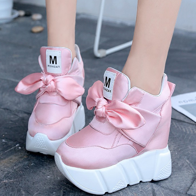New Women Casual Shoes Height Increasing Bowtie Breathable Women Walking Flats Trainers Shoes Autumn Platform Drop Shipping free shipping spring autumn women s flatform casual all match board shoes height increasing shoes