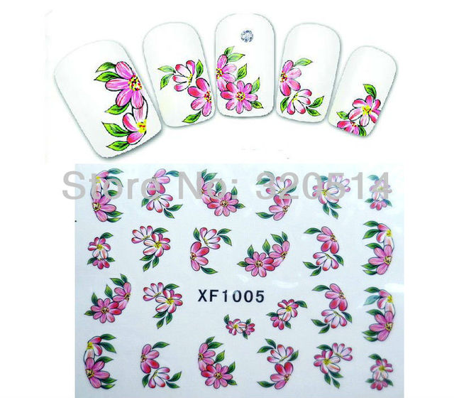 Free Shipping 20pcs/lot Nail Art Wrap Water Transfers Stickers Decals Artificial Flower With Pink/Green Leaf Design #XF1005