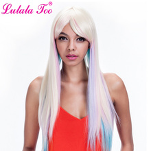 Long Straight Rainbow Wig Cosplay Party Women High Temperature Synthetic Hair Wigs With Bang Colorful Blonde Pink Blue Purple vogue full bang medium straight synthetic charming offbeat rainbow capless wig for women