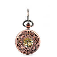 Bronze Vintage Skeleton Mechanical Pocket Watch Men Retro Womens Necklace Pocket Watch With Chain Male Clock christmas Gifts