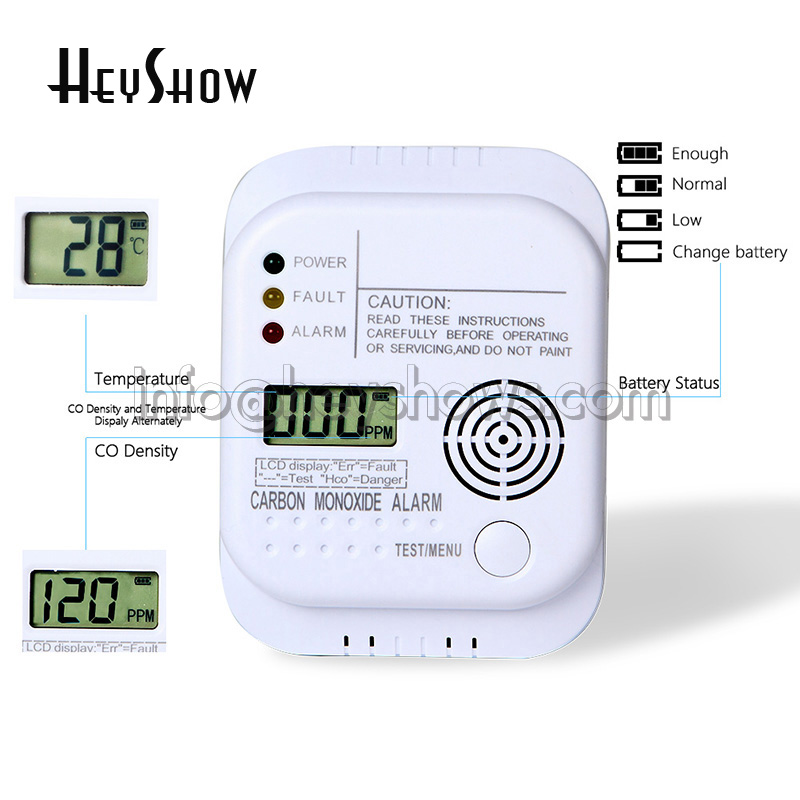 Wall-mounted CO Carbon Monoxide Alarm Detector LCD Digital For Home Security Independent Sensor Safety