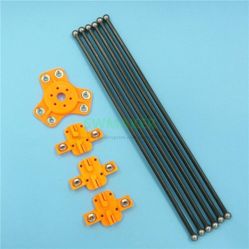 Reprap Kossel XL Plastic Magnetic Effector+carriage+300mm Carbon Tube Diagonal Push Rods Kit For Delta Kossel DIY 3D Printer