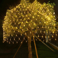 BEIAIDI 2MX2M 144 LED Net String Light Fairy Garland 8 Mode Outdoor Christmas Curtain Icicle Fairy