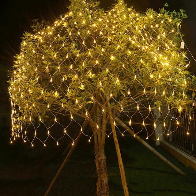 BEIAIDI 2MX2M 144 LED Net String Light Fairy Garland 8 Mode Outdoor Christmas curtain icicle Fairy String Garland Wedding Light