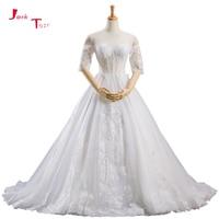 Jark Tozr Custom Made Half Sleeve Sexy Backless Appliques A line Illusion Wedding Dresses With Petticoat 2018 Abiti Da Sposa