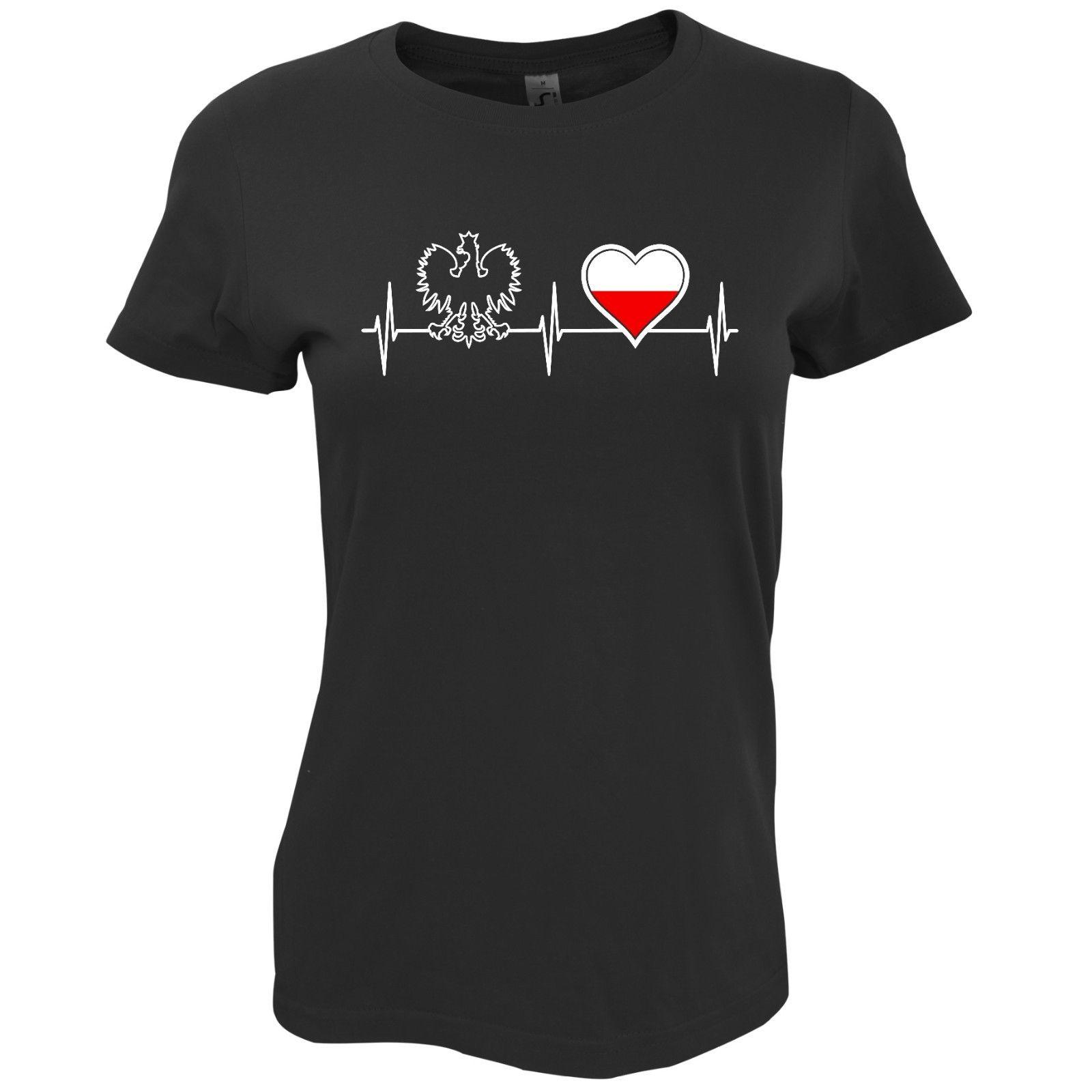 2018 Hot Sale Fashion Heart Poland POLSKA Women's Patriotic T-shirt Polish Tee Shirt