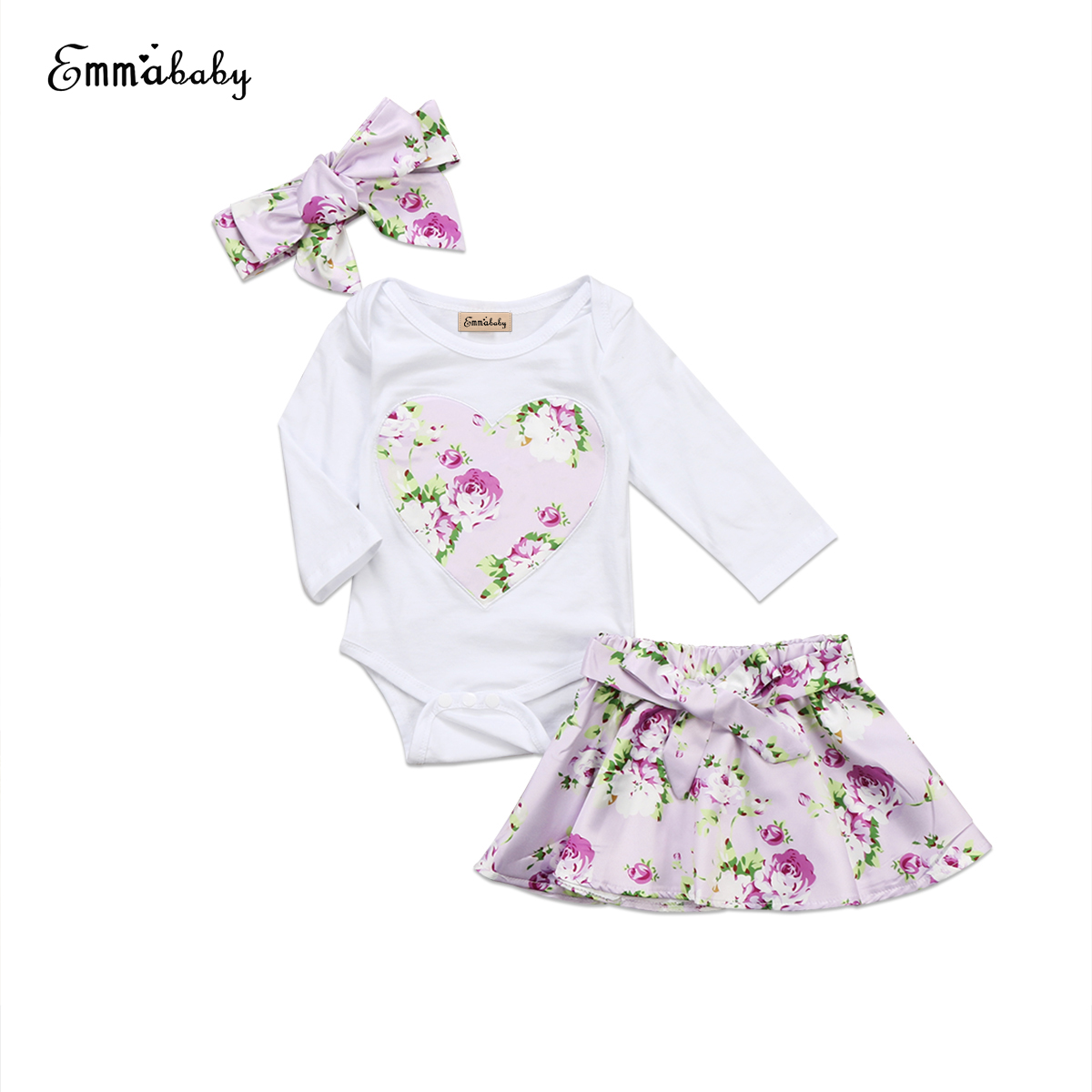 New lovely Newborn Infant Baby Girl Clothes long sleeve bodysuit Jumpsuit Bodysuits Floral printed Skirt 3pcs cute Outfits set
