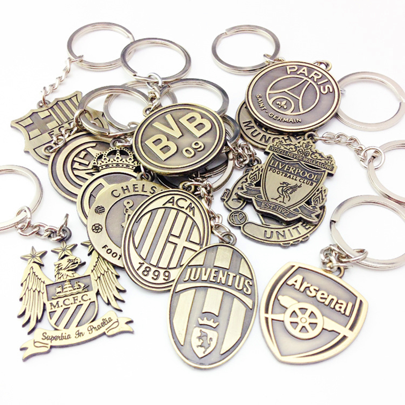 Car Jewelry Keychain Football Club Keychain European Football League Keyring Real Madrid Barcelona Liverpool