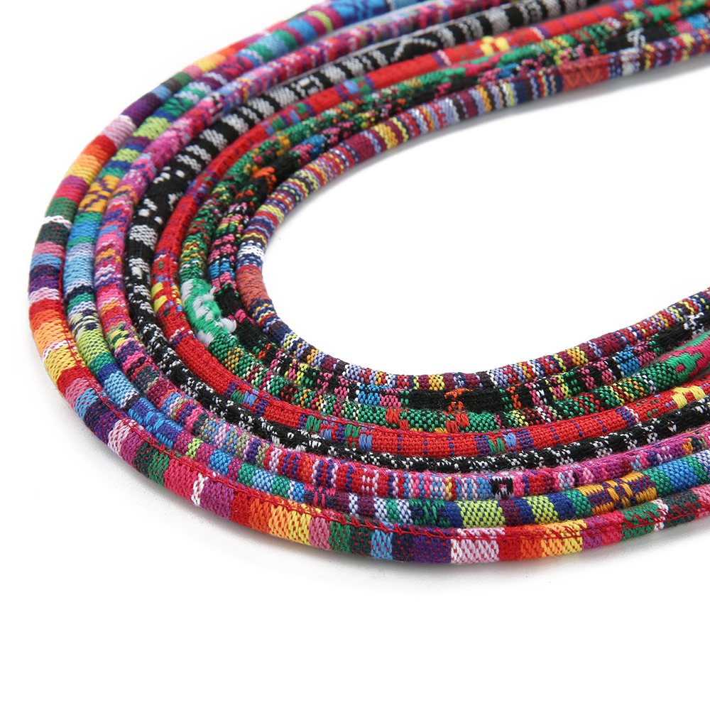 P.U ETHNIC COLOURFUL OVAL CORD JEWELLERY CORD NECKLACE STRING NECKLACE ROPE