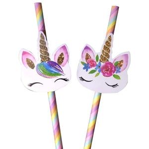 Image 1 - 20pcs Cartoon Unicorn Rainbow Paper Straws For Baby Shower Wedding Party Birthday Decoration Supplies Paper Drinking Straws