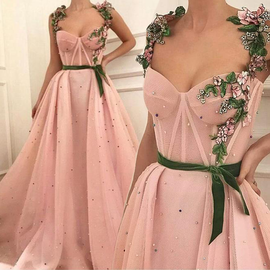 Pink A line Straps Green 3D Floral Matte Tulle Elegant Long Prom Dresses Sexy Fashion Evening Dress vestido de festa longo