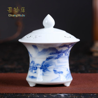 Changwuju in Jingdezhen Caramic the hand painted blue and white porcelain aroma stove as a handmade artware longquan celadon