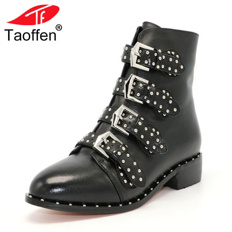 TAOFFEN Genuine leather Motorcycle boots Biker Shoes Women Suede Pointed Snow Boots Brand Shoe Famous Designer Woman Flats Punk