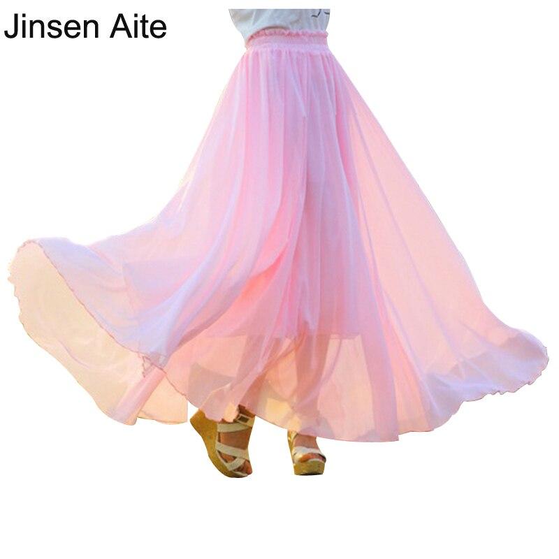 Jinsen Aite Plus Velikost 4XL Dámská dlouhá šifónová sukně Skládaná Maxi sukně Plážová sukně Vintage Elegantní Falda Saia JS491