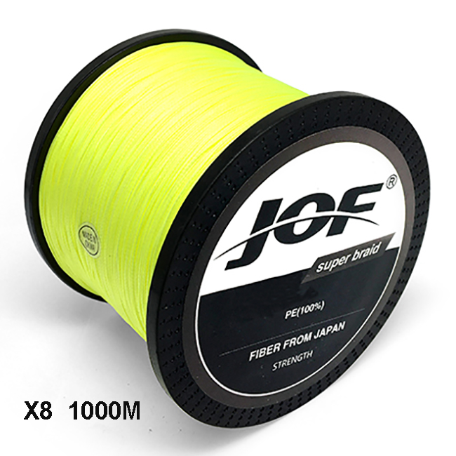 JOF 8 Strands 1000M PE Braided Fishing Line tresse peche Saltwater Fishing Weave Superior Extreme Super Strong PE LINE 12LB-78LB цена