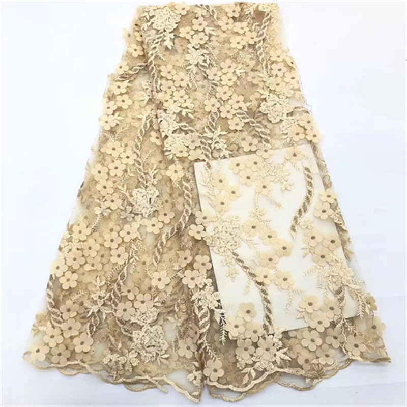 2019 New Design African 3d flower net lace french beaded lace embroidered tulle lace fabric for