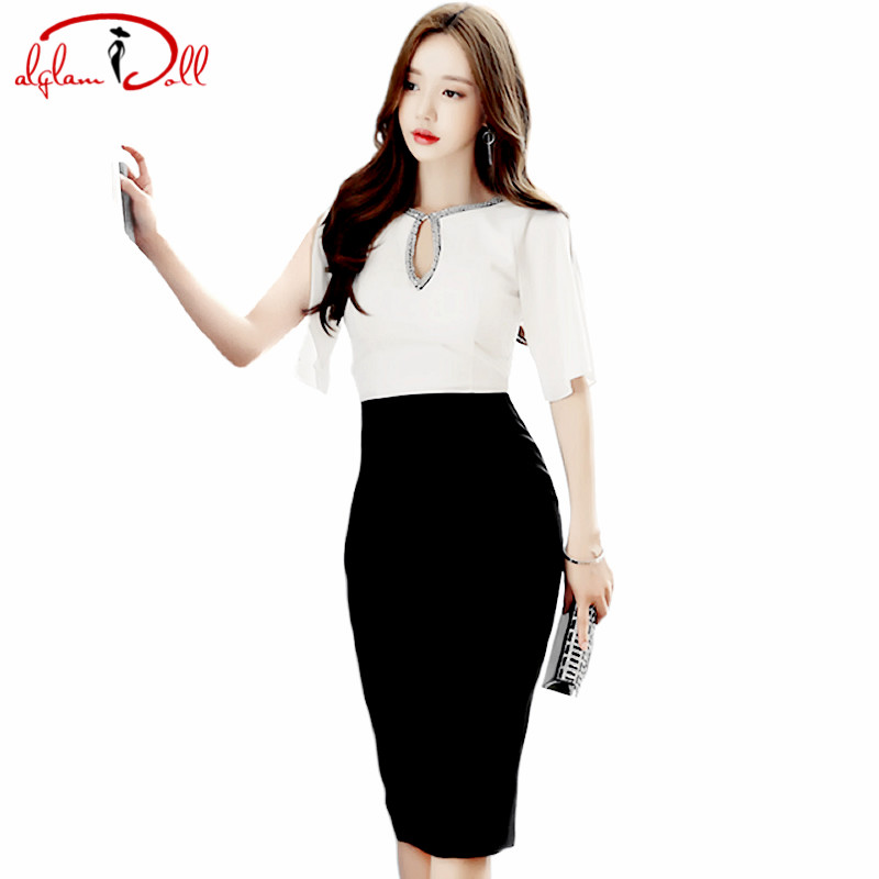 2017 Falre Sleeve OL Chiffon Patchwork Bodycon Vestidos Sexy Women Knee Length Cloth Sheath White Black