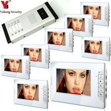 YobangSecurity 8 Units Apartment Intercom Wired 7″ Video Door Phone Video Door Entry System Intercom Doorbell Home Security Kit