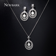 NEWBARK New Women Jewelry Sets Simulated Pearl Center Hollow With Tiny AAA CZ Diamond Drop Earrings And Necklace Set