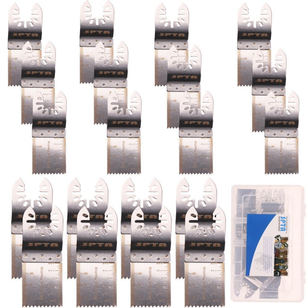 SPTA 20Pcs Stainless Steel Oscillating Saw Blade MultiTool With Plastic Box For Fein Multimaster,Dremel,Bosch,Makita,Dewalt ... cnbtr 10 pcs quick release oscillating multitool semicircle