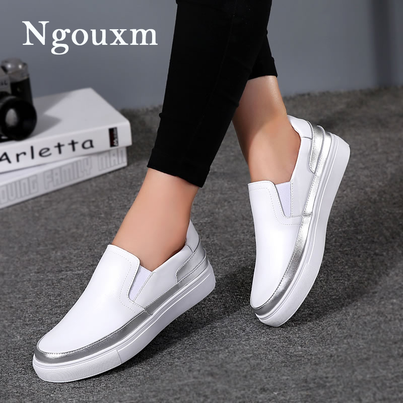 Ngouxm Women's Flats Loafers Leather Shoes Woman Slip On Casual fashion Loafer white Silver ladies shoes elastic band comfort jiabaisi fashion casual design leather loafer comfort men s shoes jsb170314002