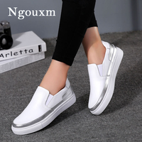 Ngouxm Women's Flats Loafers Leather Shoes Woman Slip On Casual fashion Loafer white Silver ladies shoes elastic band comfort