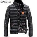 Inverno dos homens de Pato para baixo jaqueta de Couro PU Casaco Masculino Moda Quente OutdoorWear Gola Fino Espessamento Casacos De Neve Homem