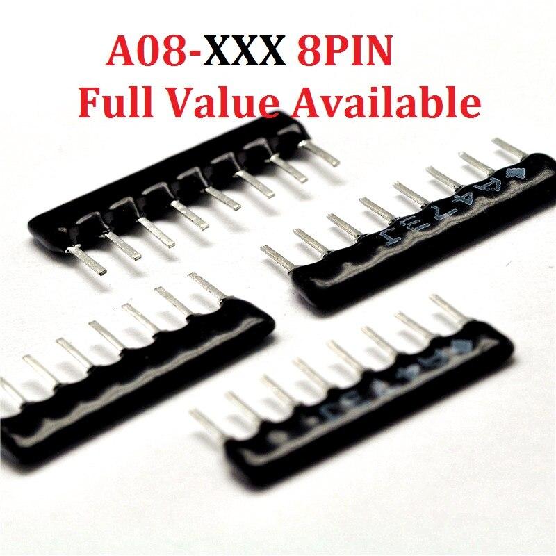 20PCS 8Pin Network Resistor A08-102/103/221/331/472/104/222/121/682/J/G Resistance 1K/10K/220R/330R/4.7K/100K/2.2K/120R/6.8K Ohm