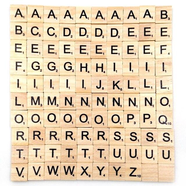 100 Pçsset Telhas De Madeira Letra Do Alfabeto Preto Scrabbles