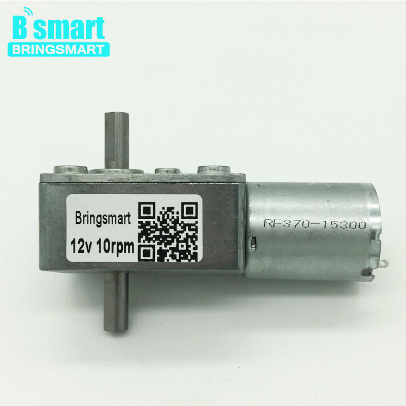 Bringsmart JGY-370S Worm Geared Motor DC 12V Double Shaft 6V Reversible Dual Output Shaft 24V Mini Self-lock Reduction Gearbox цены онлайн