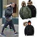 2016 Más Nuevo de Kanye West Yeezy Chaquetas Abrigos de Invierno Con Cuello de Piel marca Gruesa Caliente Justin Bieber Hip Hop Chaqueta Ma1 Bomber Abrigos