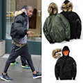 2016 Newest Kanye West Jackets Coats Winter With Fur Collar Yeezy Brand Thick Warm Ma1 Bomber Coats Justin Bieber Hip Hop Jacket