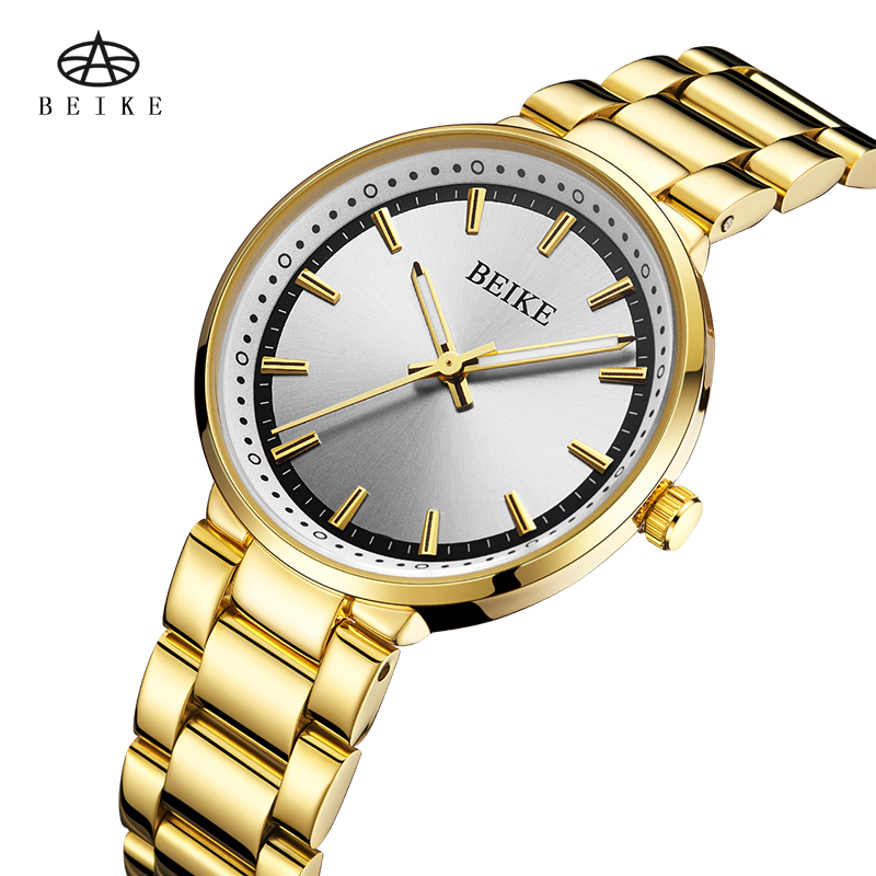 BEIKE Luxury Women Watches Waterproof Business Gold Stainless Steel Ladies Quartz Wristwatch Waterproof Ladies Dress Watch dress watches women ladies gold