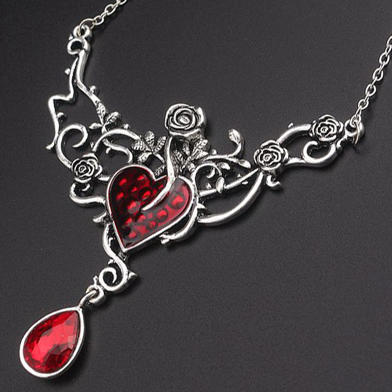 SG New Punk Style Rose Flower Heart Pendants Necklaces Double Dragon Necklace Vampire Diaries Devil Heart Bat Ladys Girls Gift