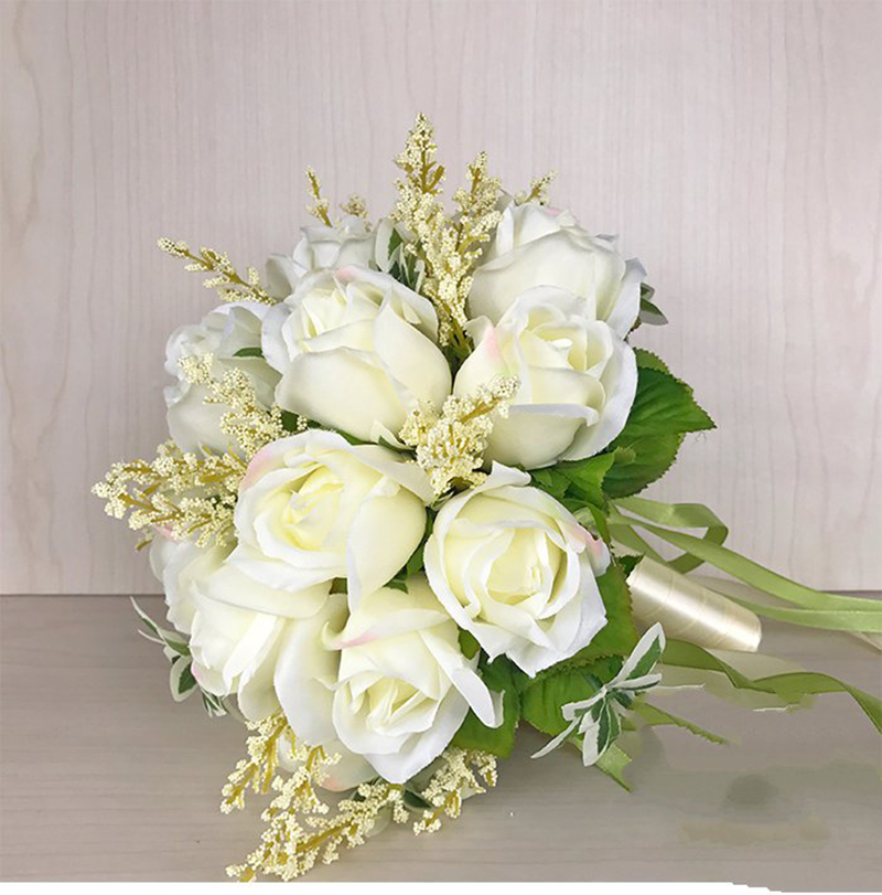Image 3 - 2018 Wedding Bouquet for Brides Woman Mariage Artificial Wedding Bouquets Rose Flowers Holder SuppliesWedding Bouquets   -